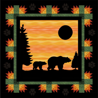 Evening Stroll Bear Quilt Pattern with silhouette paws