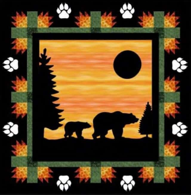 Evening Stroll Bear Quilt Pattern with white paws