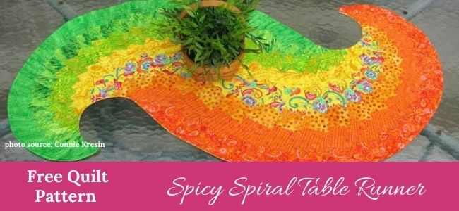 I love Quilting Forever Feature Spicy Spiral Table Runner