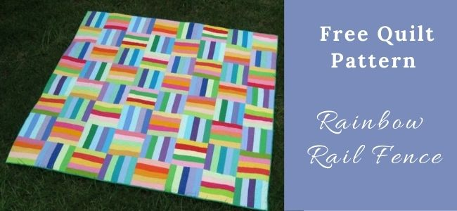I love Quilting Forever_Rainbow Rail Fence Quilt