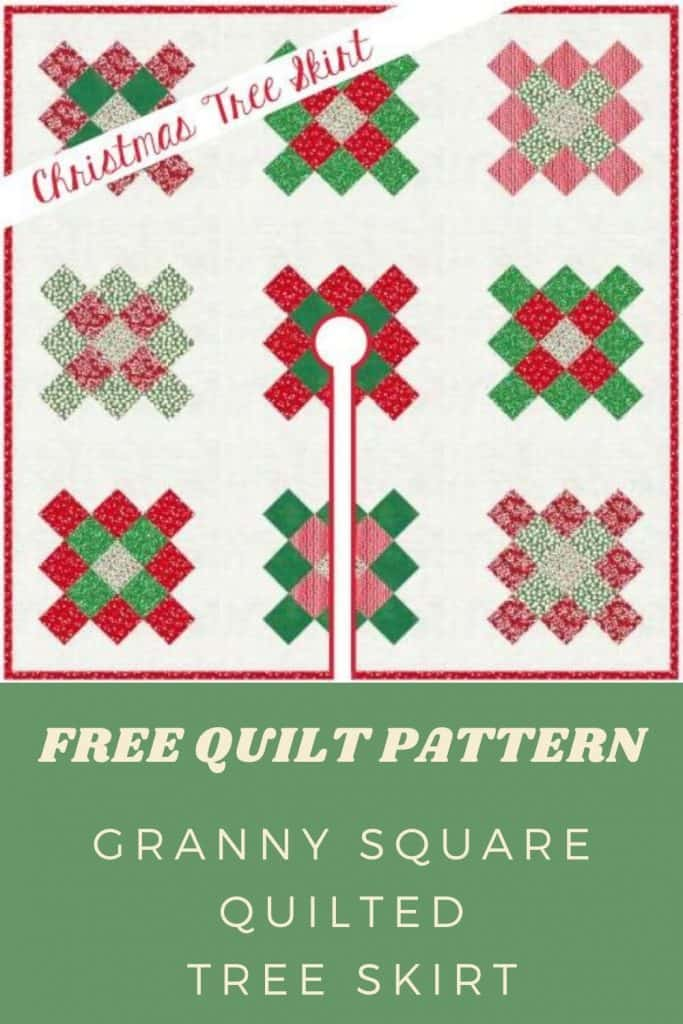 FREE Quilt Pattern_Granny Square Quilted Tree Skirt Pinterest