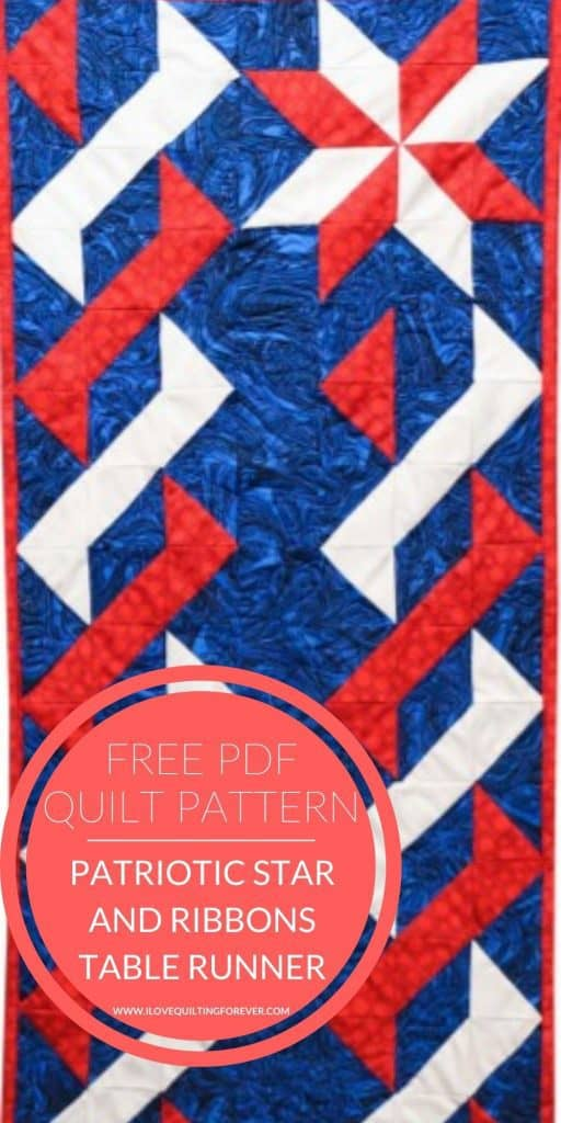 Patriotic Star and Ribbons Table Runner quilt