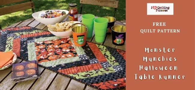 Monster Munchies Halloween Table Runner quilt featured cover - ILQF