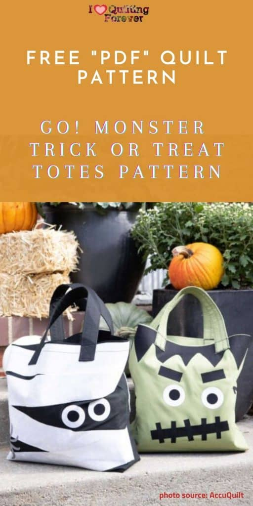 AccuQuilt GO! Monster Trick or Treat Totes Pattern - Pinterest